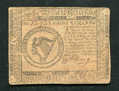 Cc-8 May 10, 1775 $8 Eight Dollars Continental Currency Note Extremely Fine