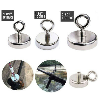 FISHING MAGNET 180 LB Super Strong Neodymium Round Thick Eyebolt Treasure Hunt