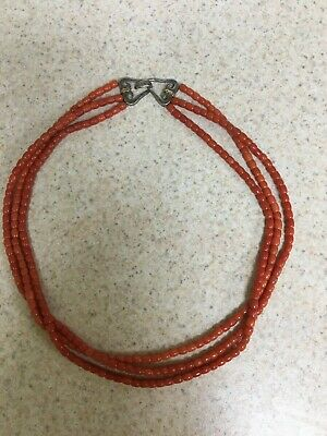 ANTIQUE  3 Strand Natural Undyed Salmon Colored Coral Bead Necklace Hand Strung