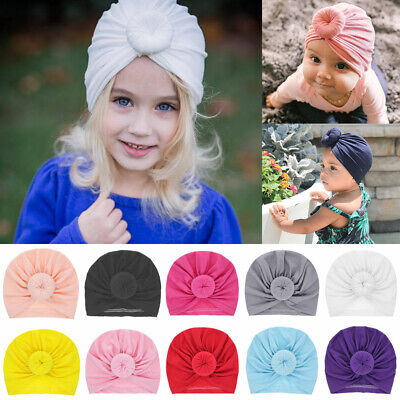 Headwrap Solid Color Kids Baby Turban Ball Knot Newborn Beanie Hat Winter Cap