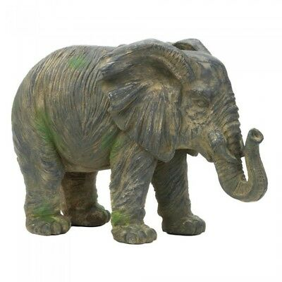 Weathered Elephant Statue, Durable Outdoor Garden Animal Sculpture Home Display