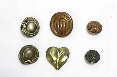 OLD VINTAGE BEAUTIFUL DESIGN UNIQUE LOOK MIX METAL COAT BUTTON 6pc COLLECTIBLE