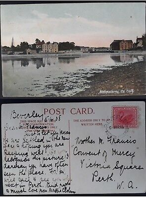 Rare 1908 Western Australia Postcard From Beverley to Perth