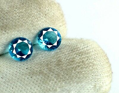 2 Carat/2 Pcs  AGSL Certified 100% Natural Round Cut Blue Apatite Gemstone Pair