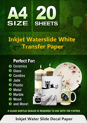 INKJET Waterslide DECAL Paper WHITE 20 Sheets WATER SLIDE Transfer Paper