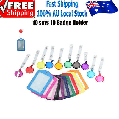 10x Retractable Lanyard ID Badge Opal Card Holder Business Security Pass AU
