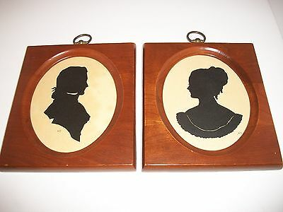 """Pair Of Silhouette's In Solid Cherry Wood Frames Exterior 71/4""""h X 61'2""""w"""