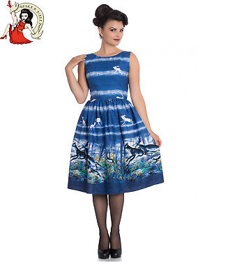 HELL BUNNY MONTANA 50s DRESS style DEER STAG BLUE