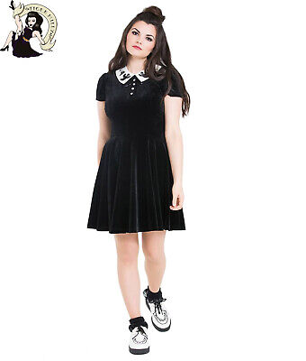0417825712 HELL BUNNY CASPER GHOST halloween VELVET MINI alternative BLACK DRESS XS-4XL