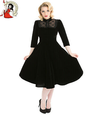 HEARTS and ROSES H&R LONDON 50s style NIGHTSHADE VELVET party DRESS BLACK