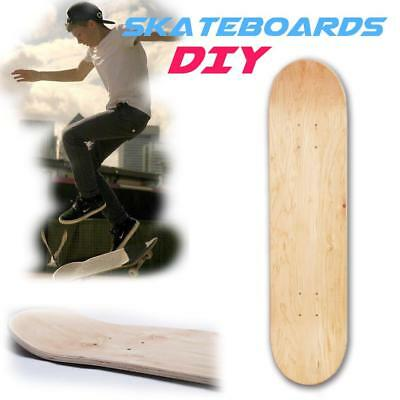 "8"" Double Warped Concave Skateboards Maple Blank Deck DIY Wooden Replacement UK"