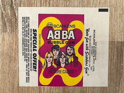 ABBA Scanlens AUSSIE Waxed Bubble Gum Wrapper from 1976!