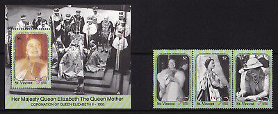 St Vincent - 1990 Queen Mother's 90th B'Day - U/M - SG 1536-1538 + MS1539