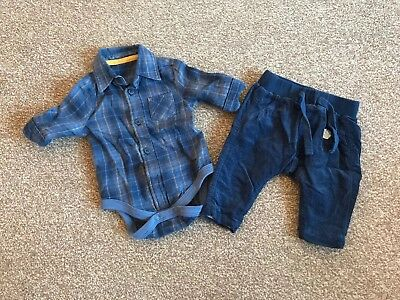Baby Boy, Mothercare, New Baby, Shirt & Corduroy Trousers Set, Navy