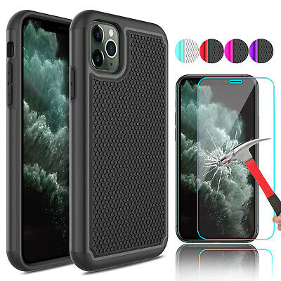 For iPhone XR Shockproof Armor Phone Case Cover+Tempered Glass Screen Protector