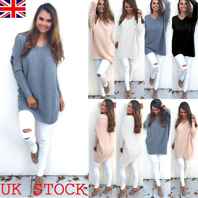 UK Womens Long Sleeve Oversized Knit Sweater Blouse Ladies Jumper Pullover Tops