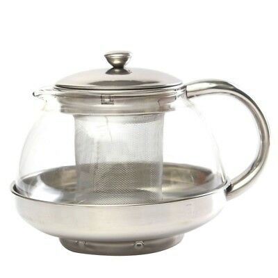 800ml Stainless Glass Teapot Loose Infuser Coffee Tea Leaf Herbal Decor H7R9