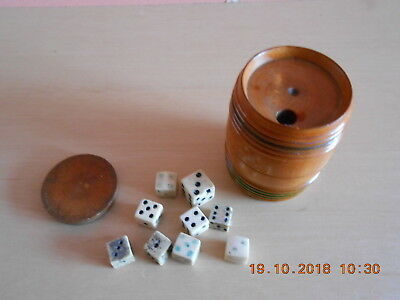 Antique wooden barrel shaped dice shaker with 9 dice