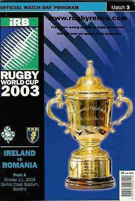 IRELAND v ROMANIA 2003 RUGBY WORLD CUP PROGRAMME MATCH No 3