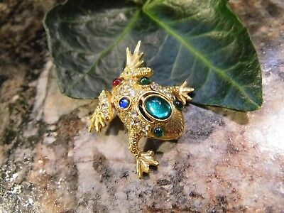 Vintage Gold Tone Rhinestone Jeweled Frog Pin Brooch