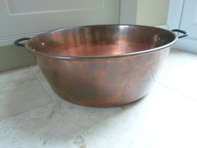 Large vintage French copper preserve jam pan, 2 iron handles, 2.1kg