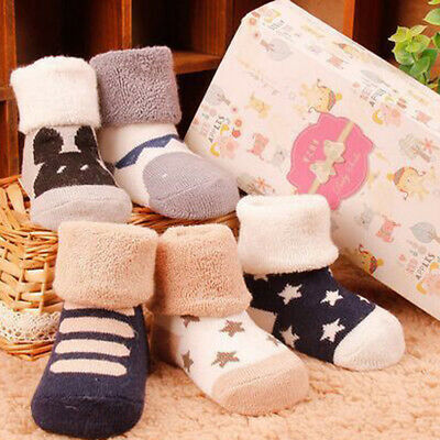 Kids Child Toddler Baby Boys Girls Cartoon Animals Anti-Slip Knitted Warm Socks