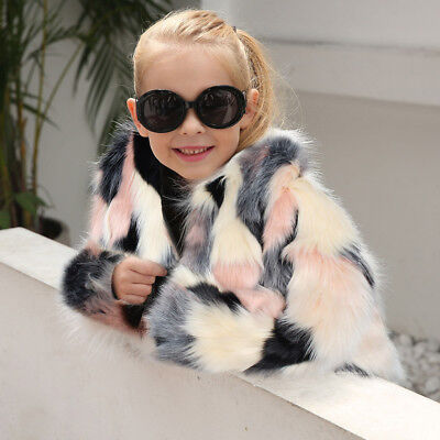 Lovely Toddler Kid Girl Winter Warm Clothes Fluffy Faux Fur Coat Jackets Outwear