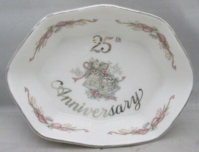 Lefton 25th Anniversary 10584 Porcelain Dish w/ Silver Trim Wedding Bells
