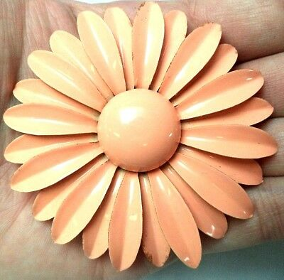"Stunning Vintage Estate Gold Tone Enamel Flower  3"" Brooch! 1554G"