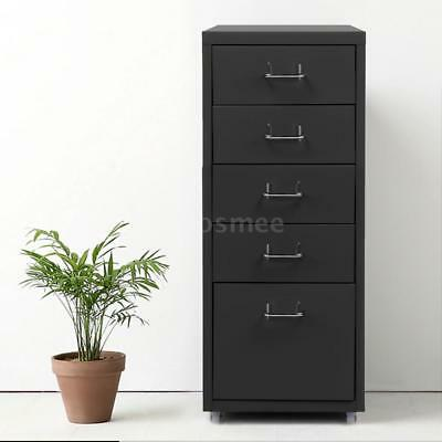 Grey 5 Drawer Metal File Cabinet Home Filing Office Organizer W/ 4 Casters P6S4