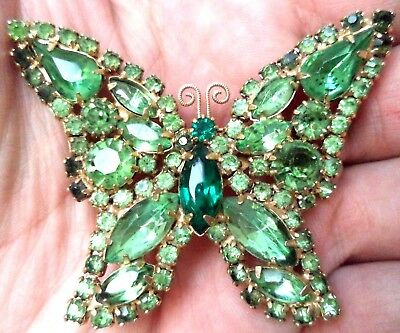 "Stunning Vintage Estate High End Green Rhinestone Butterfly 2 1/4"" Brooch! G194W"