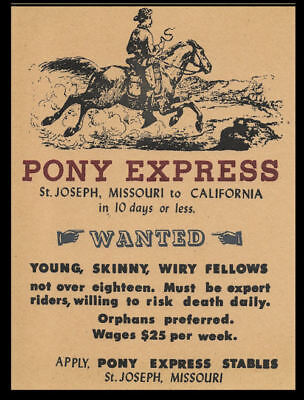 Pony Express Riders Wanted Poster Reprint On 100 Year Old Paper *P009