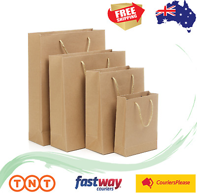 50pcs Brown Kraft Paper Shopping Carry Bags 7 sizes Gift Bag with Cloth Handles