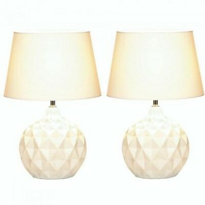 Round White Table Lamp with Faceted Geometric Shapes & Fabric Shade Set of 2 NIB