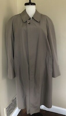 BROOKS BROTHERS Mens Tan Trench Coat With Removable Wool Liner Sz 42 L