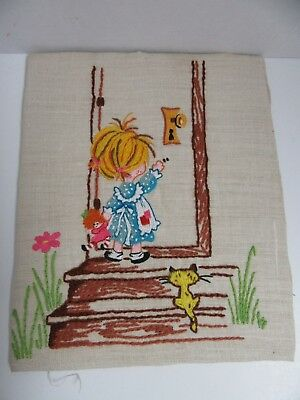 Finished Crewel Embroidery Girl Doll Cat Front Door Completed 9x11 Vintage