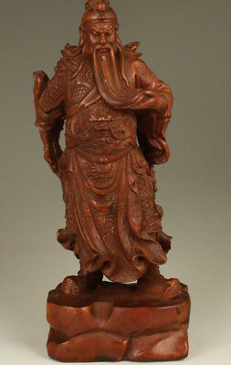 rare big boxwood chinese hand carving hero guanyu statue figure home decoration