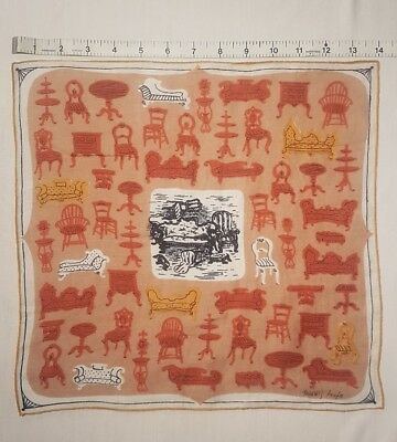 "Vintage TAMMIS KEEFE Whimsical ""Furniture"" Cotton Linen Handkerchief Hankie"