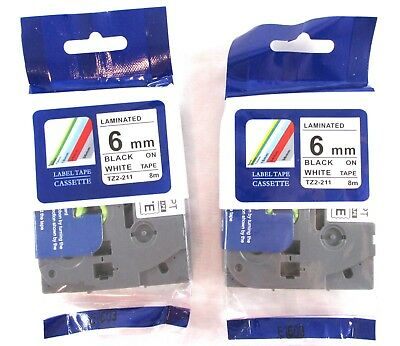 2PK Compatible w/ Brother TZ2-211 BLACK WHITE Laminated Label Tape  P-Touch 6mm