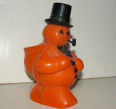 1950s Rosbro Hard Plastic Halloween Snowman Candy Container with Pipe ORIGINAL