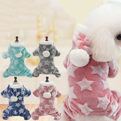 Star Small Dog Cat Jumpsuit Snowsuit Hooded Fleece Pet Puppy Clothes Outfits 50