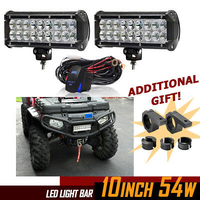 10INCH 54W Cree LED Light Bar Work Flood Spot Combo SUV Ford OFFROAD VS 4/2 ROWS