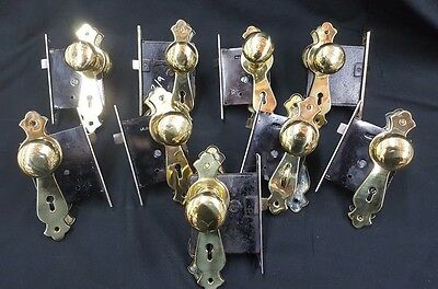 Antique Solid Brass Whole House 9 Door Plates Knobs & Mortise Locks Set