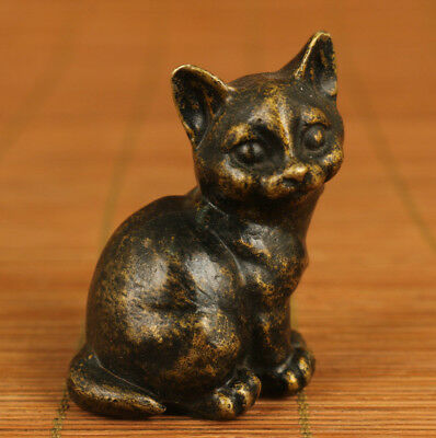 chinese Bronze lovely hand carving Cat statue figure Home decoration collection