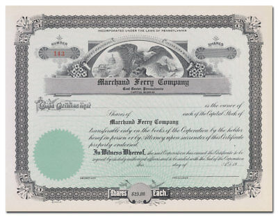 Marchand Ferry Company Stock Certificate (Coal Center, Pennsylvania)