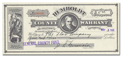 Humboldt County, Nevada Stock Warrant