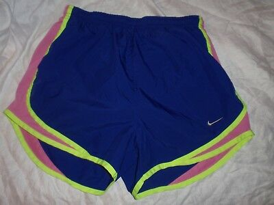 Womens Small Nike Dri Fit Tempo Blue Pink Brief Lined Athletic Running Shorts