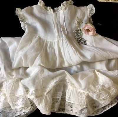 antique fine cotton muslin & lace flounce baby or doll petticoat hand stitched