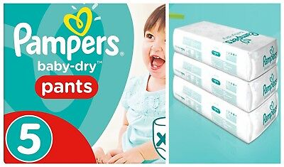 Pampers Baby-Dry Pants Size 5 Nappy (12-17kg) Choose QTY 32 64 96 128 Pack