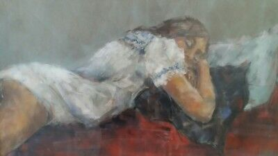 """Attractive Pastel Mixed Media Sketch Young Woman Reclining Signed """"brook"""""""